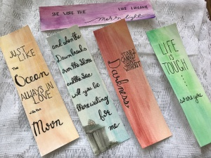 Hand-lettered watercolor bookmarks